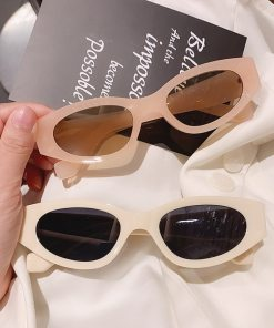 SO&EI Ins Popular Fashion Small Cat Eye Sunglasses Woman Vintage Oval Eyewear Men Champagne Tea Sun Glasses Shades UV400