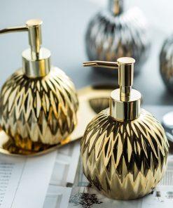 3pcs/set Bathroom Accessories Set Stainless Steel Tray Ceramics Hand Sanitizer Shampoo Shower Gel Bottle Toilet Soap Dispenser