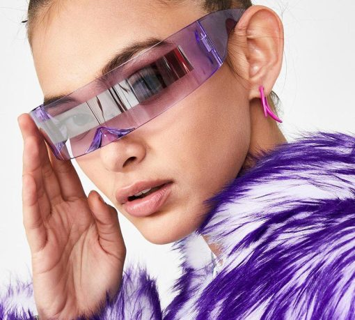 Fashion Siamese Futuristic Wrap Around Monob Costume Sunglasses Luxury Brand Designer Mask Novelty Glasses Purple Blue Goggle