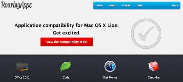 Roaring Apps lista de Apps compatibles con Mac OS X