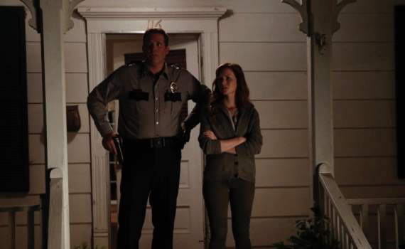 Wrenn Schmidt and David Denman as Megan and Mark Holter.