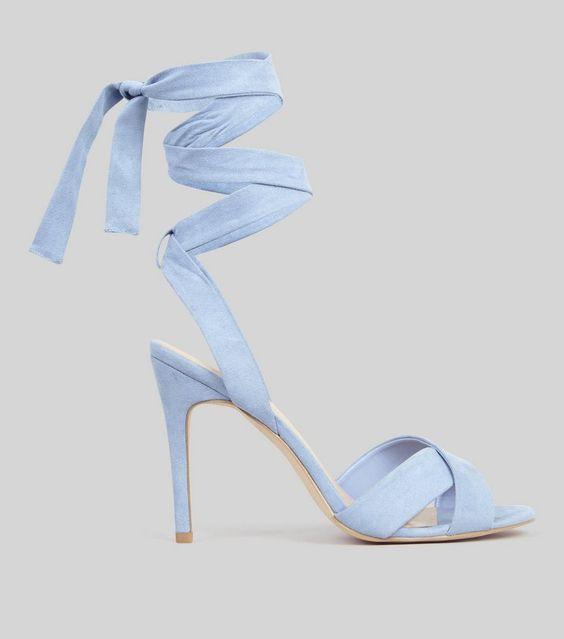 Pale Blue Suedette TieUp Sandals