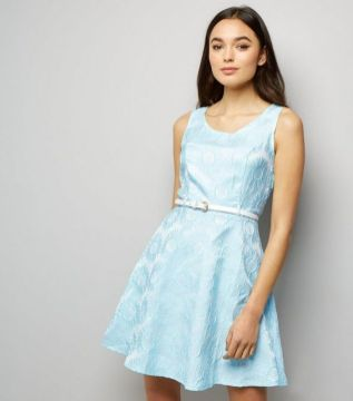 New Look pale blue daisy embossed dress