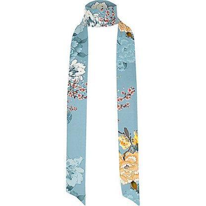 river island blue print skinny scarf