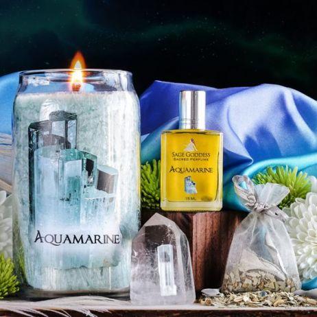 sage goddess aquamarine set