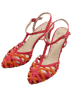 Leather cross strap T-bar heels