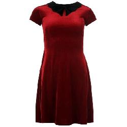 Bat collar red velvet skater dress from sports direct