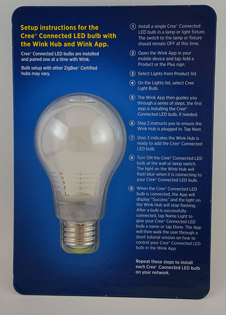 CREE Connected Smart LED Bulb - Back Packaging