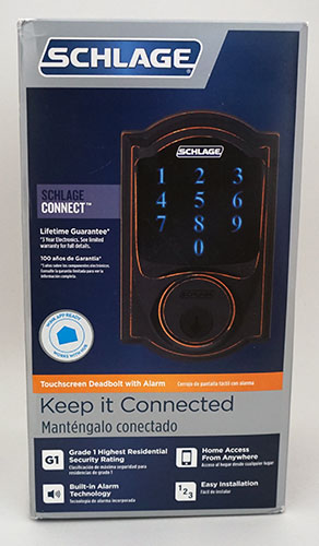 Schlage Z-Wave Touchscreen Door Lock - Front Box