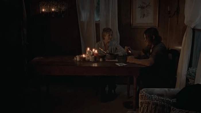 The Walking Dead S07E10 Daryl and Carol Dinnertime