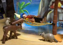 Big Pirate just wants to take a nap on his new hammock, but the raccoons are big jerks.