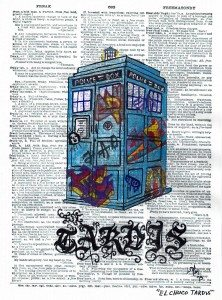 """My """"El Chuco Tardis"""" image; watercolor and acrylic on a dictionary page."""