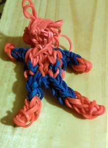 My attempt at a Spiderman charm. He doesn't have a face or webs, and too many of the bands broke in the neck area to keep him, but it wasn't a bad attempt. Image: Cathe Post