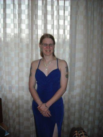 GeekMom Karen Burnham rocking a gown that shows off her tats.
