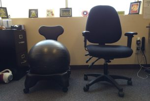 Left: BalanceBall chair, Right: My regular chair  Image: Dakster Sullivan