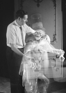 An early promotional photo Imagineer Yale Gracey and the original Hatbox Ghost. Image: flickr commons.