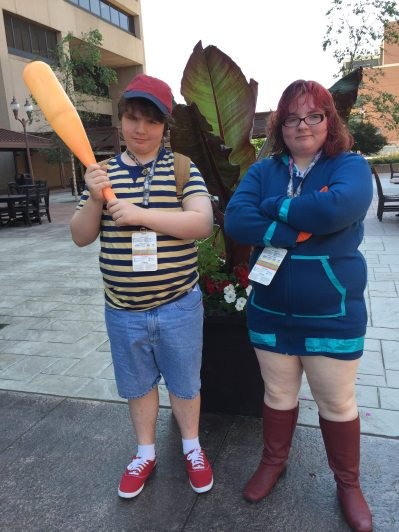 My twins, cosplaying as Ness and Kumatora from Earthbound.