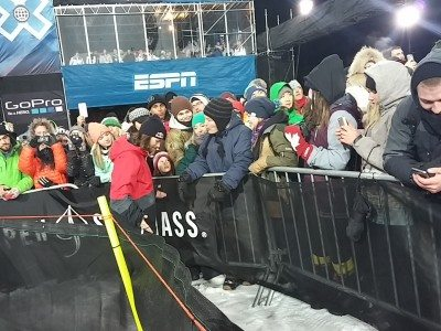 Snowboarder Louie Vito, hangs out with the crowd after his run. Photo: Judy Berna