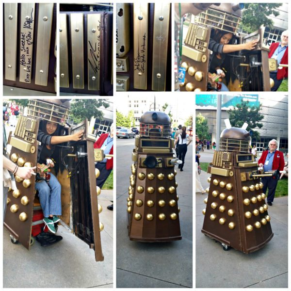 Dalek Cosplay made by Martin Gomez for his daughter Josephine. It took Martin three months to make this electric motored Dalek.