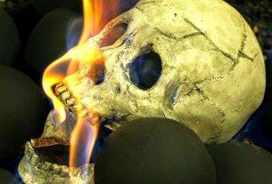flaming skull