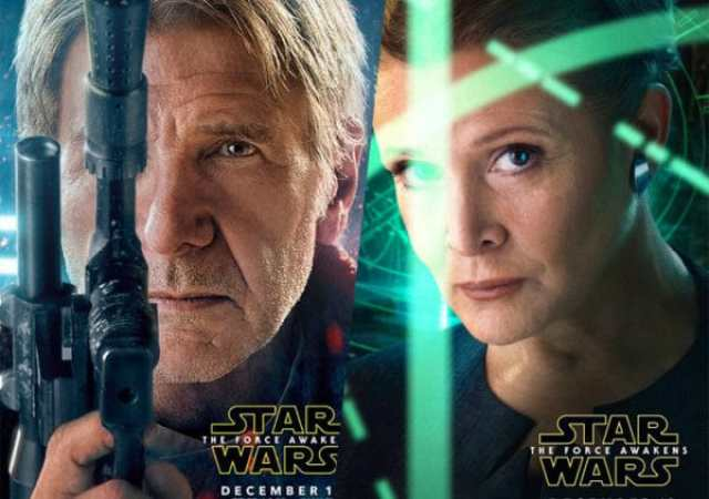 Han Solo and Leia Organa in Star Wars: The Force Awakens