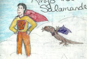 The superhero my best friend and I created when I was 17, and his salamander sidekick. Image by Amy Matviya, 1995!