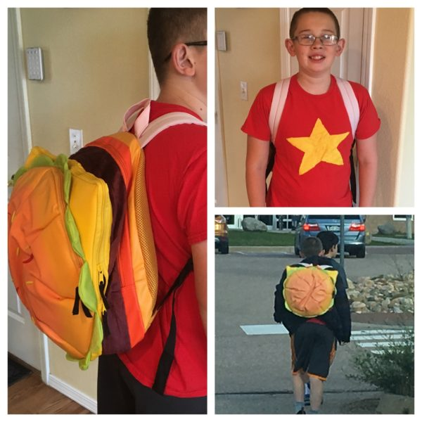 My youngest son loves his Cheeseburger Backpack and so do many of his classmates. They'll have to wait till mid-September! Image credit: Patricia Vollmer