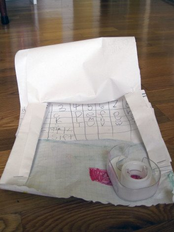 When my daughter started coming home from kindergarten with projects like this (a computer with an empty tape dispenser mouse) that she'd built during free time to do calculations, I took it as a sign to up my math game.