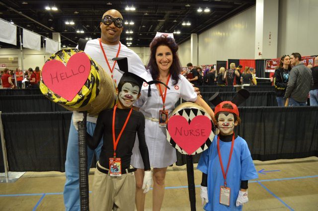 We met this fantastic cosplaying family while in line for Animaniacs voice actor autographs. The kids thoroughly enjoy Animaniacs, and like my husband and me, the parents were enjoying the show while in high school and college. Photo: Patricia Vollmer.