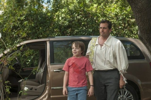 Alexander Cooper (Ed Oxenbould) and his dad, Ben, (Steve Carell), come to the end of a very bad day. ©2014 Disney Enterprises, Inc. All Rights Reserved.