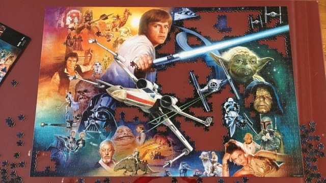 Image of not-quite complete 2000 piece Star Wars jigsaw puzzle