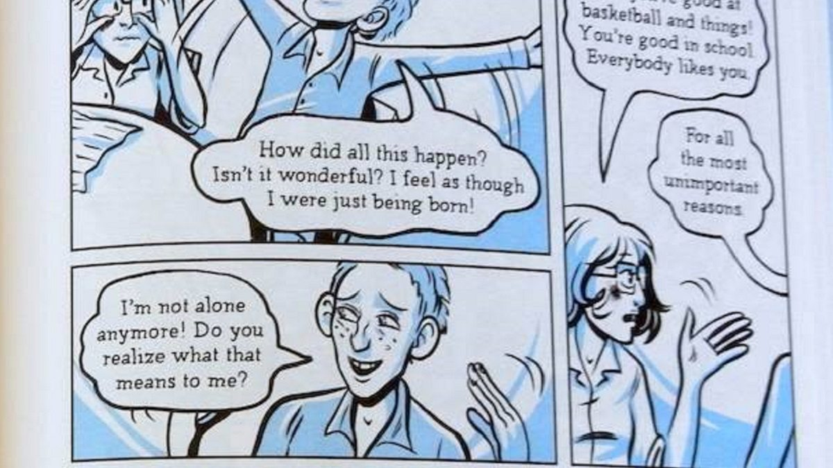 Panels from Hope Larson's graphic novel adaptation of A Wrinkle In Time