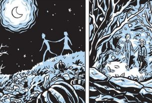 Two panels show silhouettes walking hand in hand in the moonlight, then in an autumn wood.
