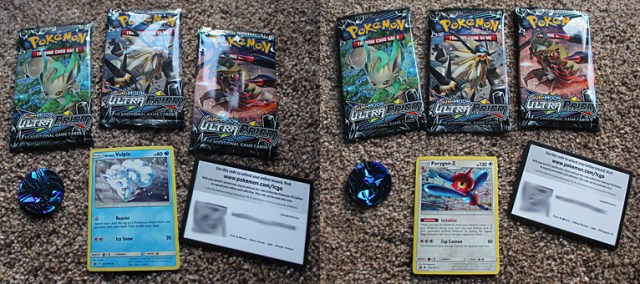 Pokemon Ultra Prism Three-Booster Blister Packs, Image: Sophie Brown