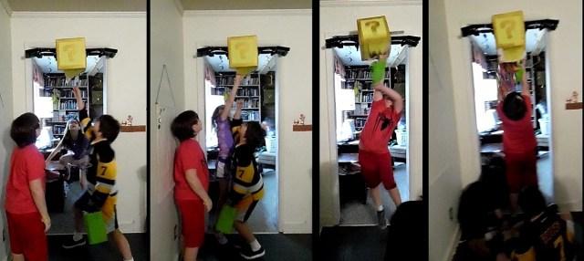 Series of photos of kids jumping to punch the question block pinata, gradually making progress