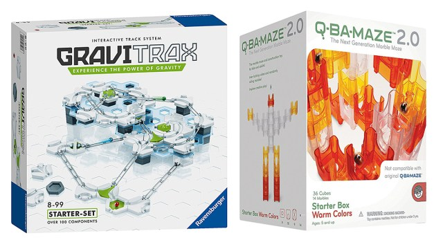 Gravitrax Vs. Q-Ba-Maze, Images: Ravensburger and Mindware