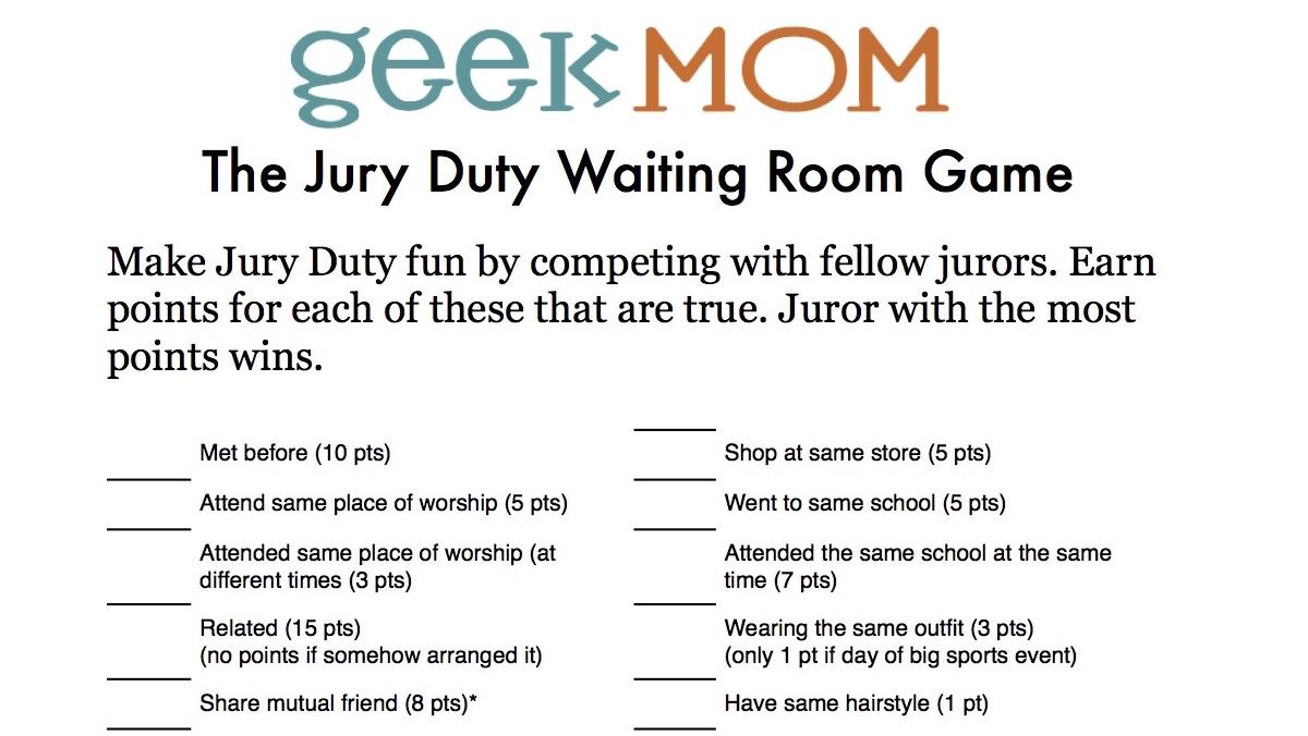 Jury Duty Waiting Room Game