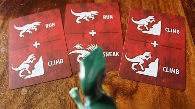 The Dinosaur Player only gets to pick from a hand of three cards, Image: Sophie Brown