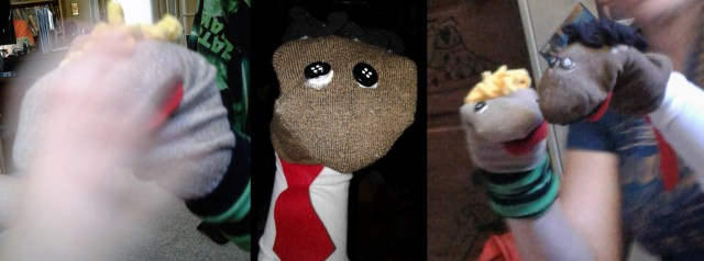 George and Harold sock puppets from the kit from DreamWorks