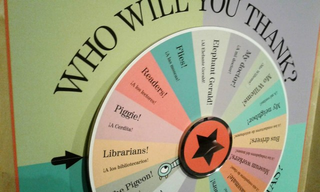 "Large game wheel labeled ""Who Will You Thank?"" arrow pointing at ""Librarians!"""