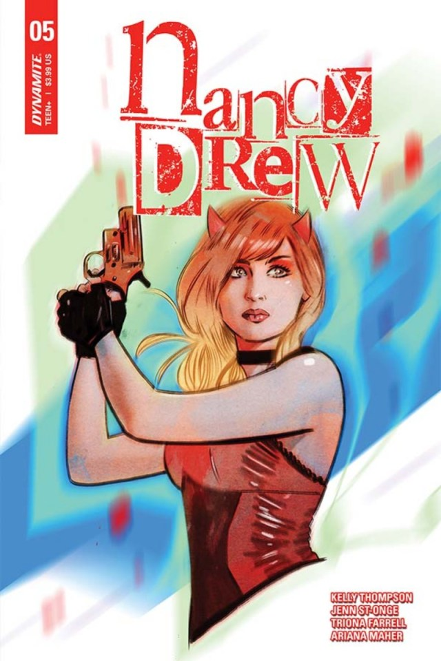 Cover of Nancy Drew #5, shows Nancy in a red and black dress, holding up a flare gun