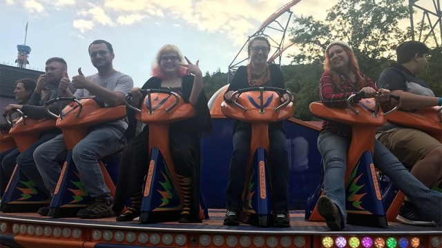 """a photo of the author and her companions on the ride """"Revolution"""""""