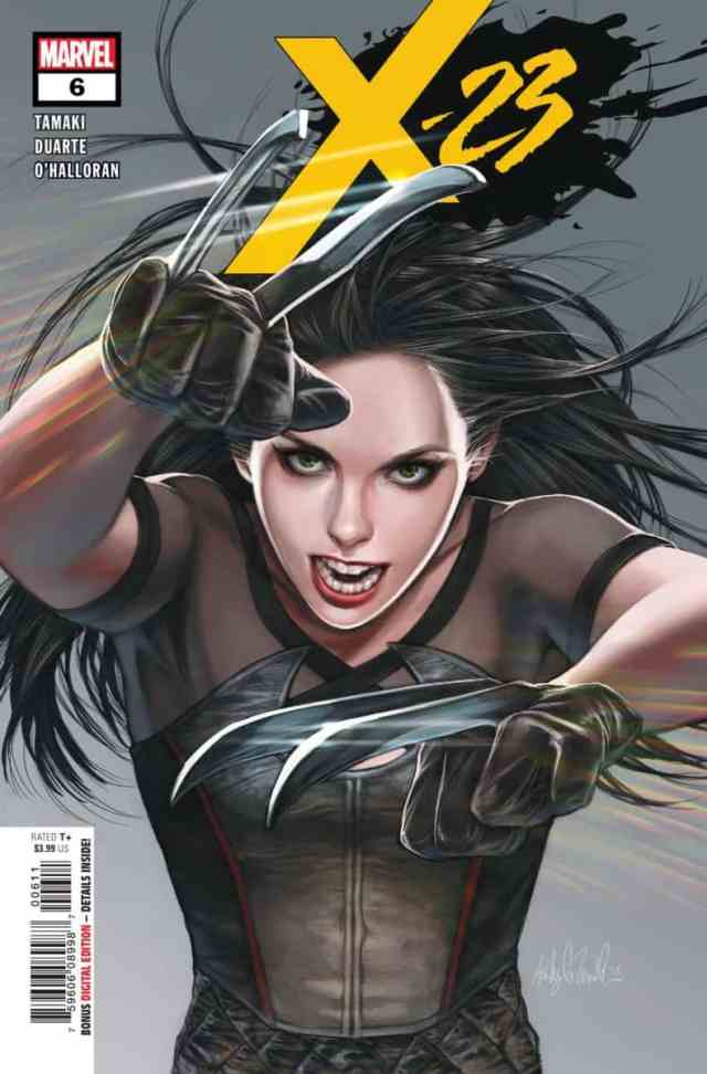 Laura Kinney, claws extended, costume from recent comics