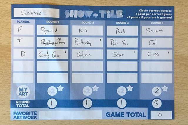 Completed Score Sheet from a Four-Player Game of Show and Tile, Image: Sophie Brown