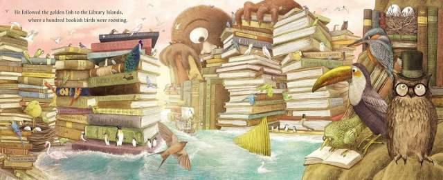Fantastical beasts swarming around islands of books