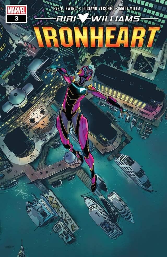 Riri Williams in her Ironheart suit flies over the city
