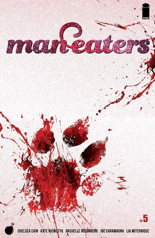 """a pink cover with a bright red paw print and the words """"man-eaters"""""""
