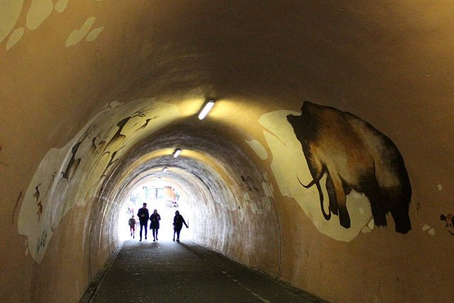 Cave-Style Illustrations in one of the Tunnels Show Mankind's Early Fascination with Animals, Image: Sophie Brown