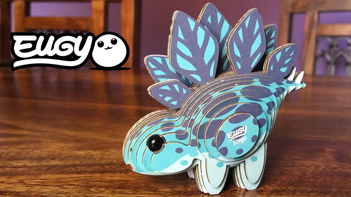 A Finished Eugy Stegosaurus, Image: Sophie Brown, Logo: Eugy Dodoland