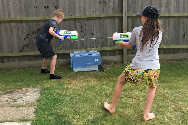 Testing the X-Shot Fast-Fill Water Guns, Image: Sophie Brown